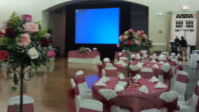 Wedding Reception AV with Large Projection Screen Delivered and Setup by Visual Advantage in Orlando FL