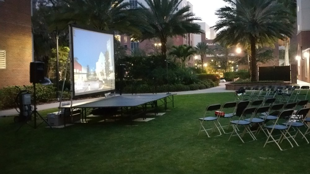 Outdoor Movie Night Rentals for University of Tampa Event. Audio Visual and Services Delivered and Setup by Visual Advantage