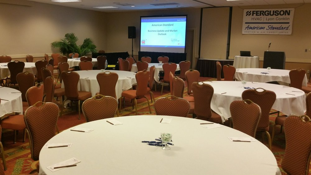 Tripod Projection Screen & Powered Speaker Rented from Visual Advantage in St Petersburg FL