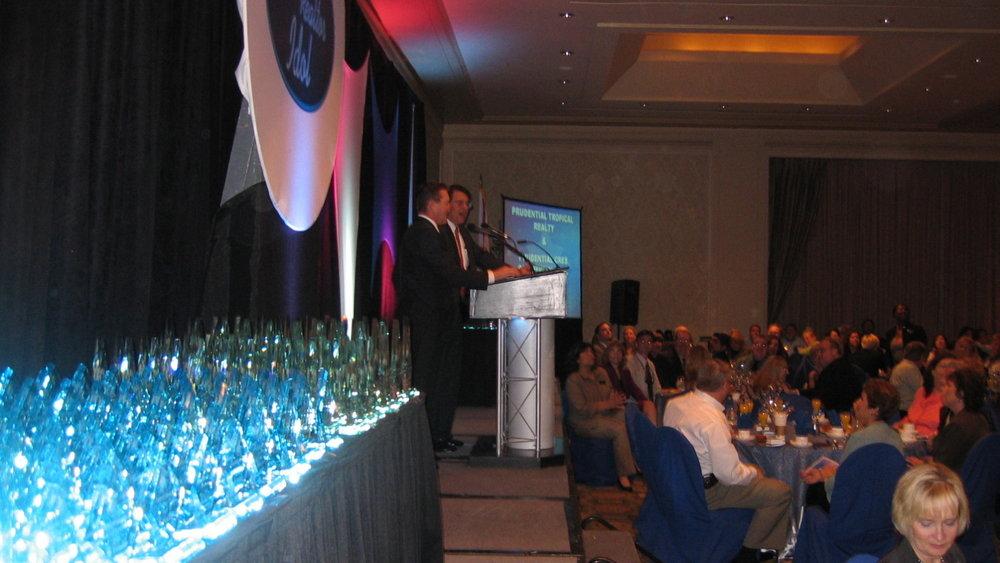 Award Banquet at Tampa Hotel Meeting Room setup and operated by Visual Advantage. Providing AV Rentals