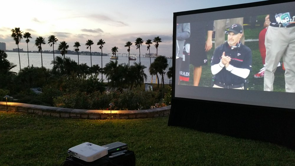 Large Outdoor Projection Screen and Projector Rental for Super Bowl at a beautiful location in Clearwater, FL. Sound System also Rented from Visual Advantage