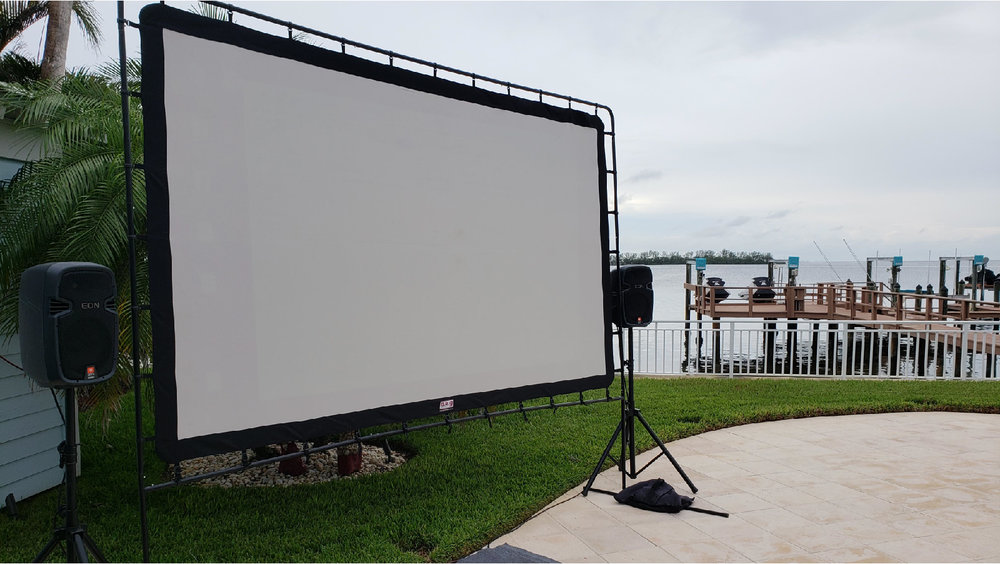 Outdoor Movie Nights - Give your movie night a movie-theater feel & go big with a large outdoor projection screen, projector & speaker rental! These setups are great for backyards or any gathering place.  Visual Advantage has outdoor cinema rentals that can be setup by you or you can have one of our techs come out & do all the hard work for you!