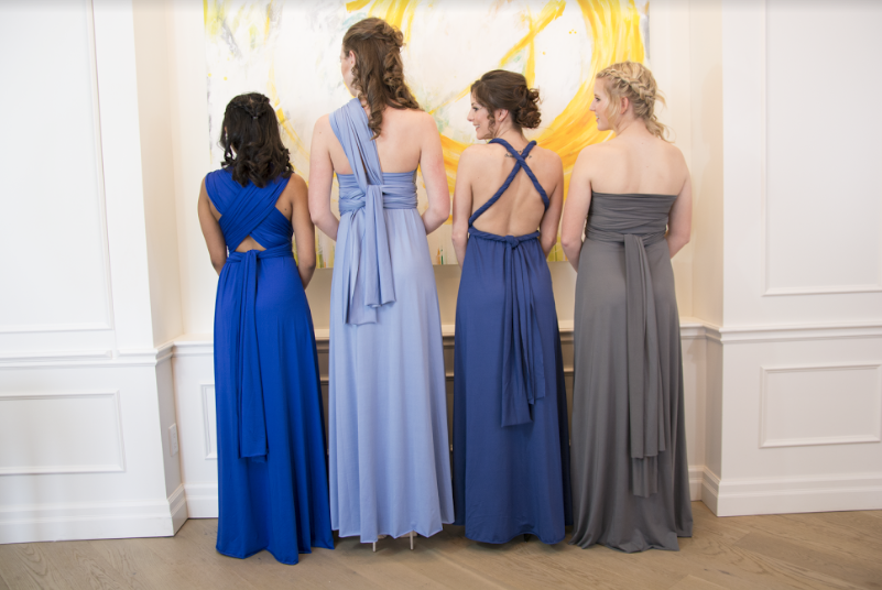 Models showing the versatility of our bridesmaid-favourite Infinity dress.