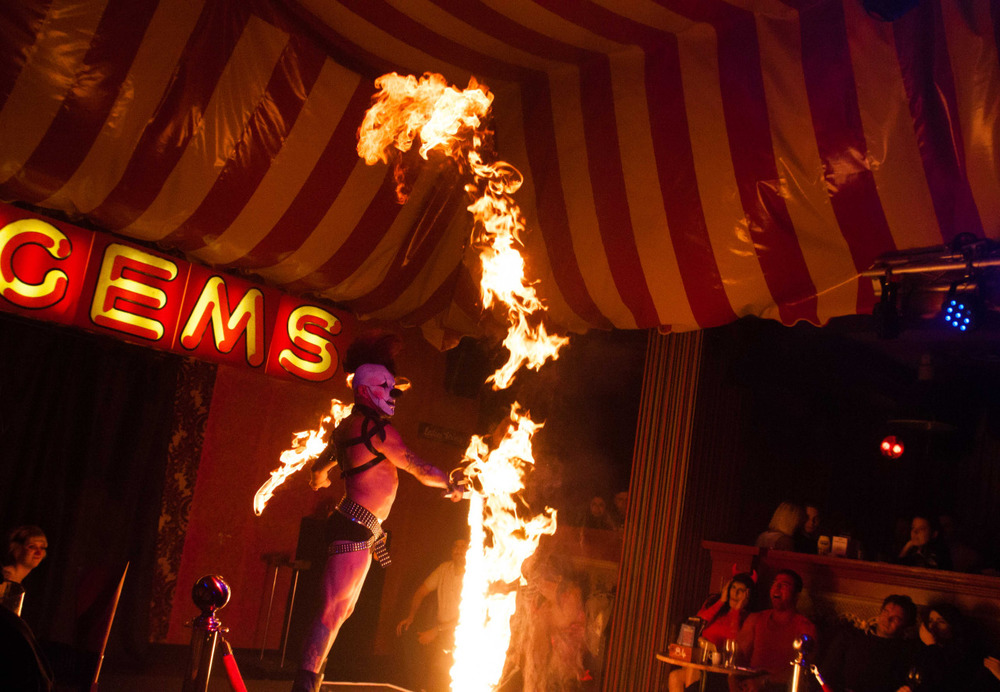 A fire performer at The Aeronaut pub, Acton, Ealing