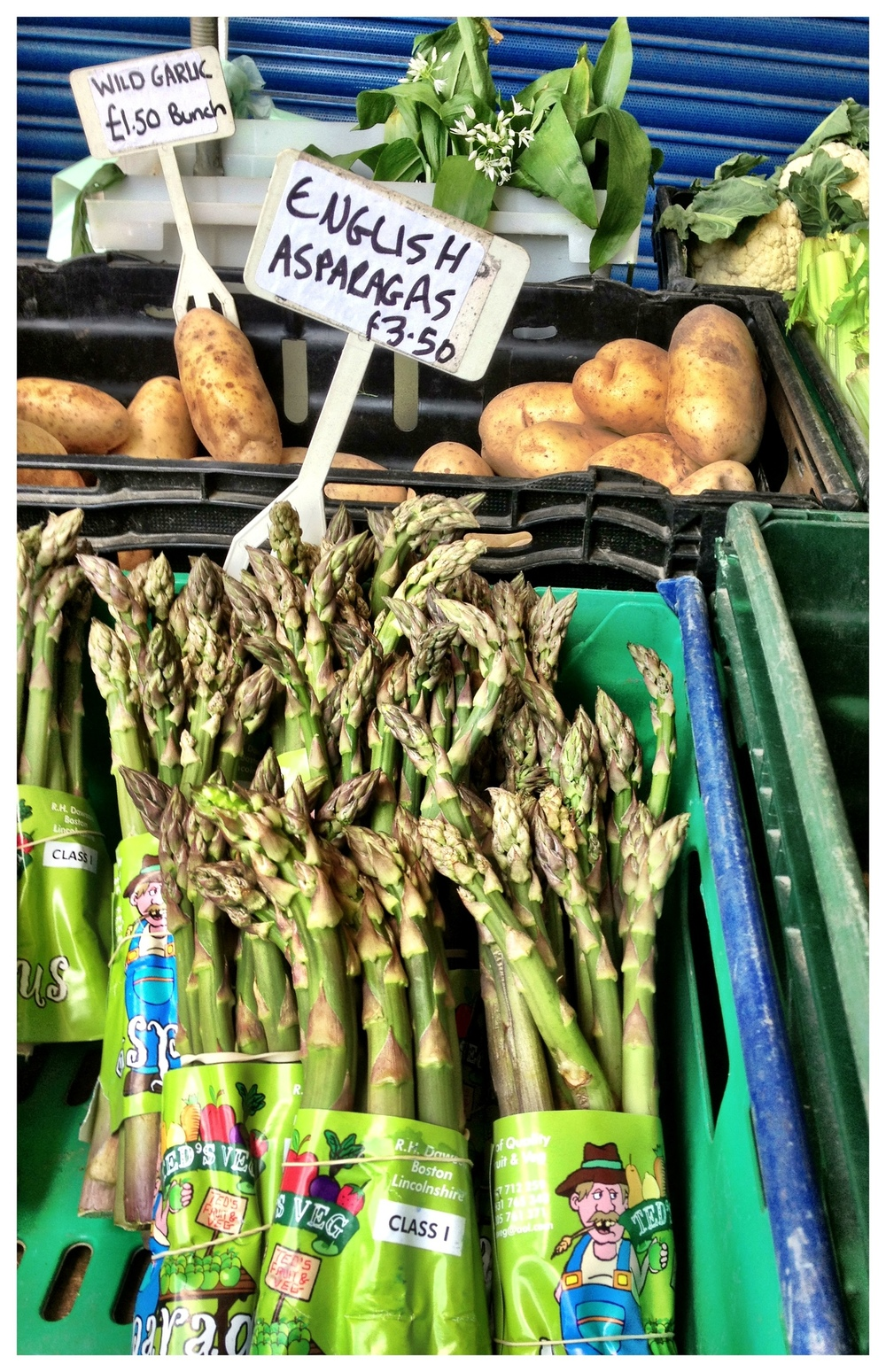 Asparagus sold at Brentford Market