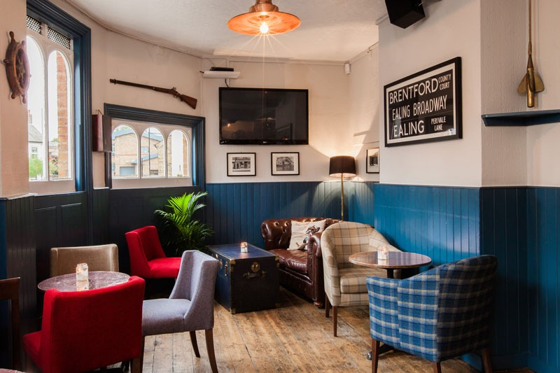 Seating areas at The Lord Nelson pub, Brentford