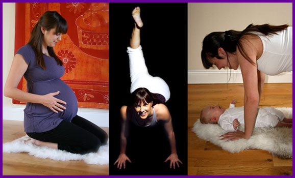 Three pictures - antenatal yoga, yoga and postnatal yoga with a baby with Let's Yoga, Ealing