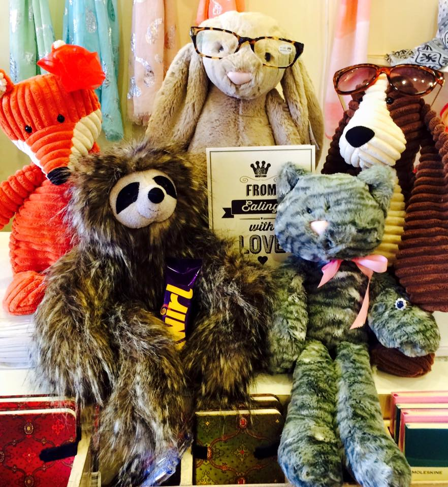 Selection of plush toys sold in Rumbles, Ealing