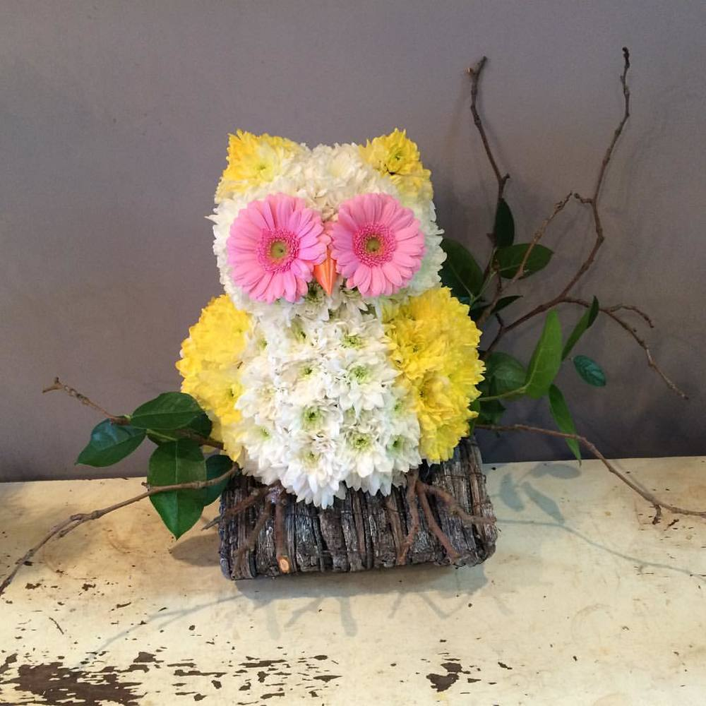 Owl flower bouquet from Stems Flower Gallery, Pitshanger Lane, Ealing