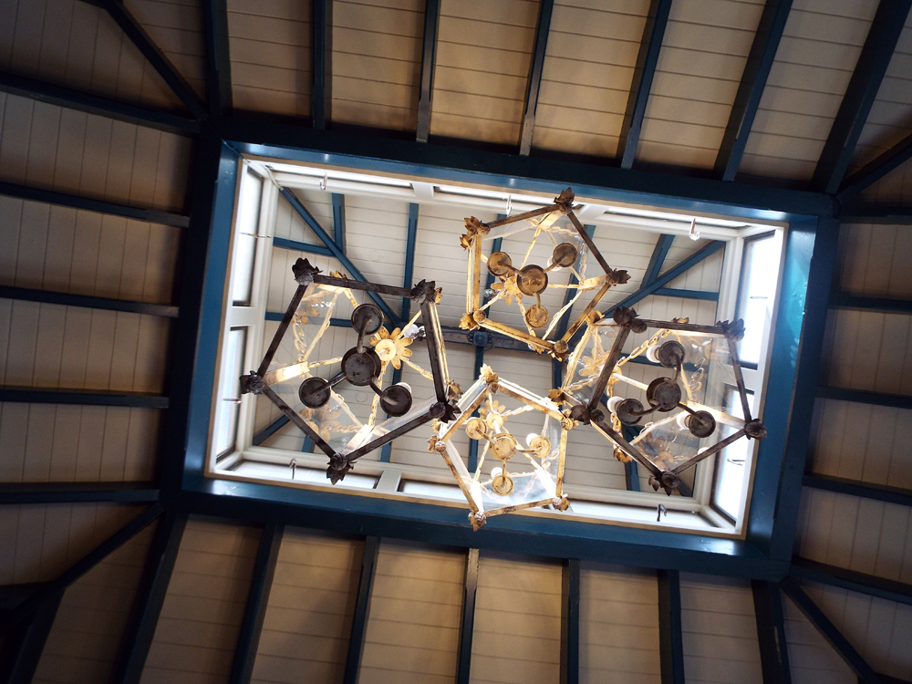 The ceiling lights at The Village Inn pub, Pitshanger Lane, Ealing