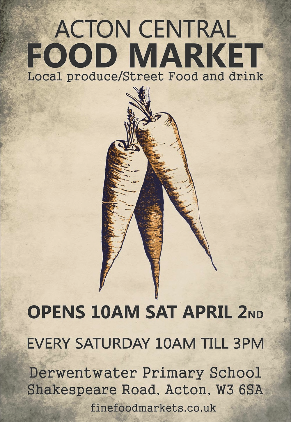 Acton central food market. Local produce/street food and drink. Every Saturday 10am till 3pm. Derwentwater Primary School Shakespeare Road, Acton W3 6SA