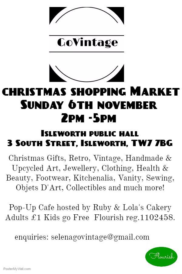 Go Vintage Christmas Shopping Market - Sunday 6th November 2pm - 5pm Isleworth Public Hall