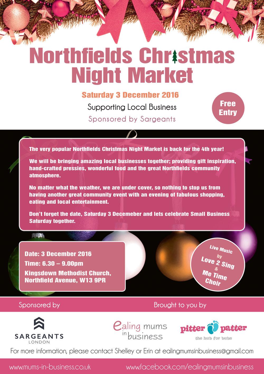 Northfields Christmas Night Market - Saturday 3rd December