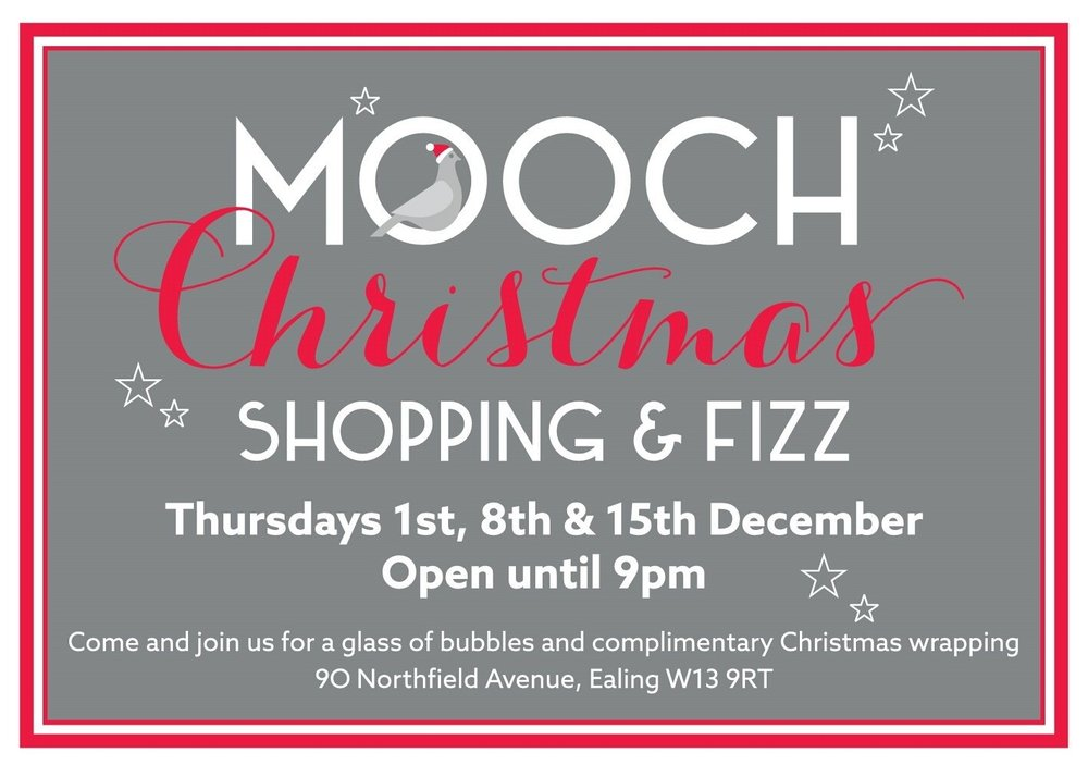 Mooch Christmas shopping and fizz. Thursday 1st, 8th and 15th December. Open until 9pm
