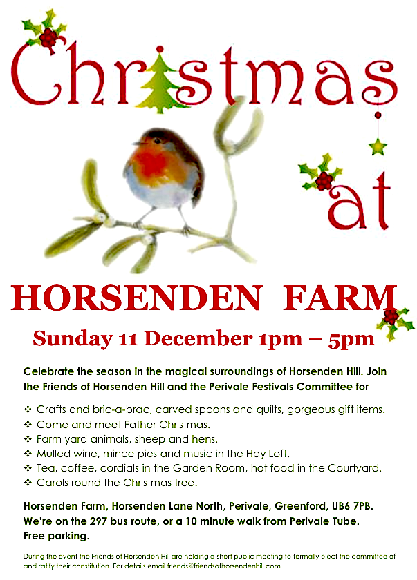 Christmas at Horsenden Farm. Sunday 11th December 1pm - 5pm
