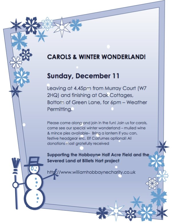 Carols and winter wonderland. Sunday December 11th.