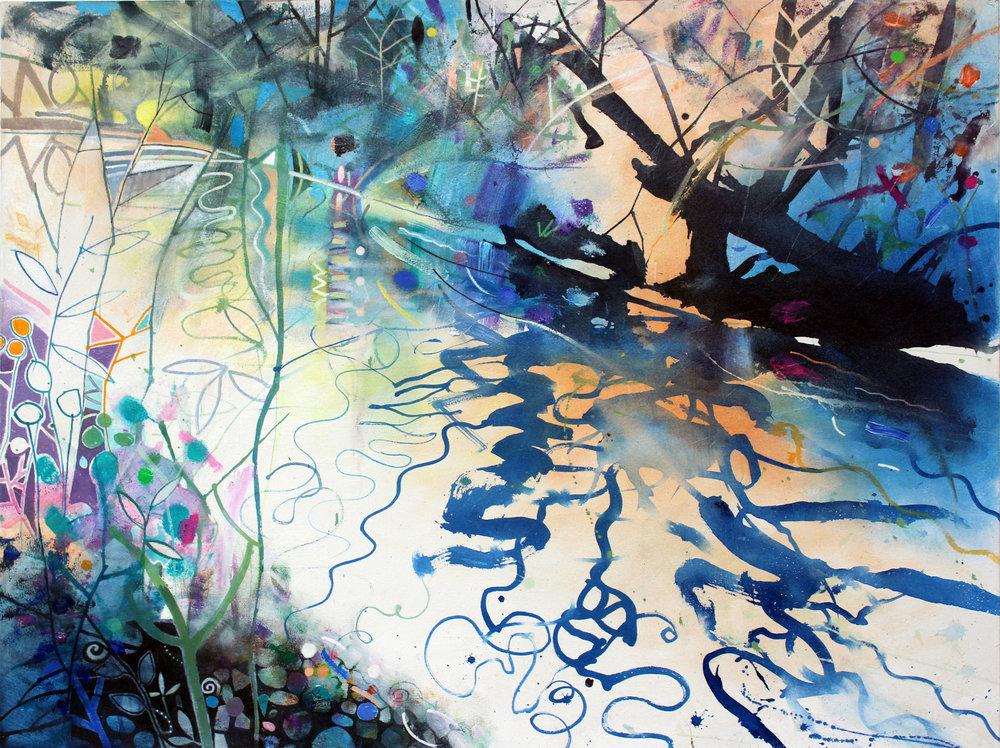 David Wiseman  Water's Edge Glowing Light   acrylic  102 x 76 2016  .JPG