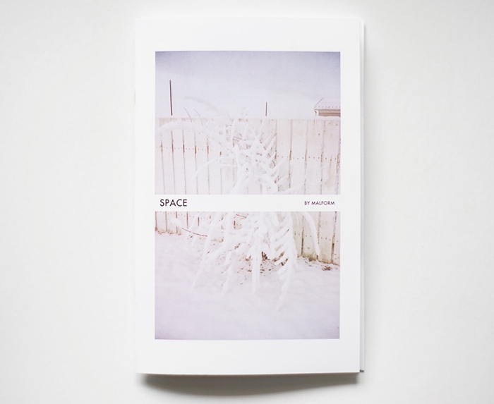 "SPACE by Malform  (2016)  A selection of my writing and photographs appear in SPACE by Malform ( www.malformpress.bigcartel.com )  20 pages, 8.5"" x 5.5"", colour, saddle stitched. Printed in Calgary, AB.  Edition of 85."