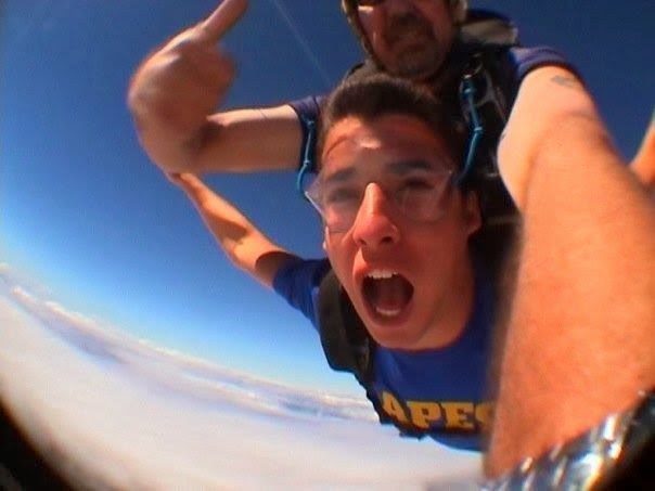 Anne's son, Ben, skydives in Australia
