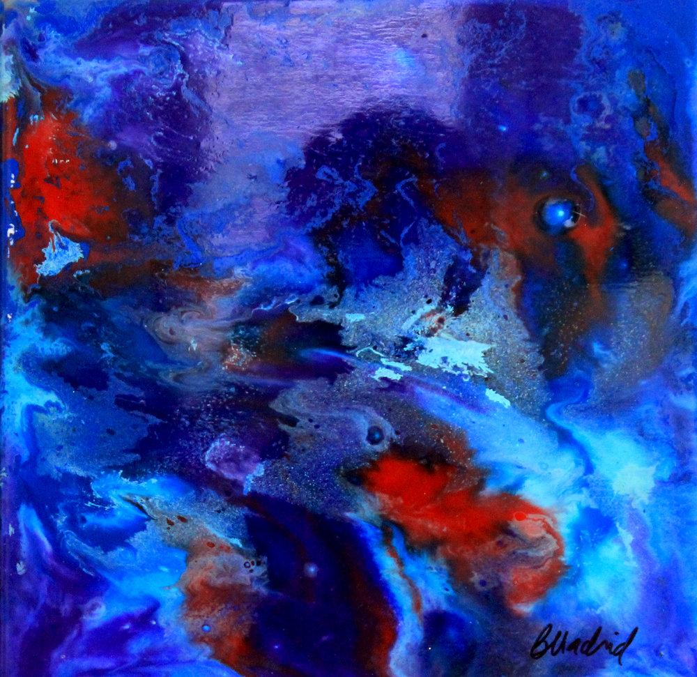"Shark Bite | 10"" x 10"" on wooden canvas"