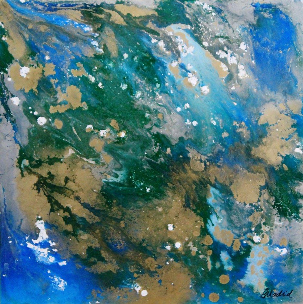 "Astrological Wonder | 18"" x 18"" on wooden canvas"