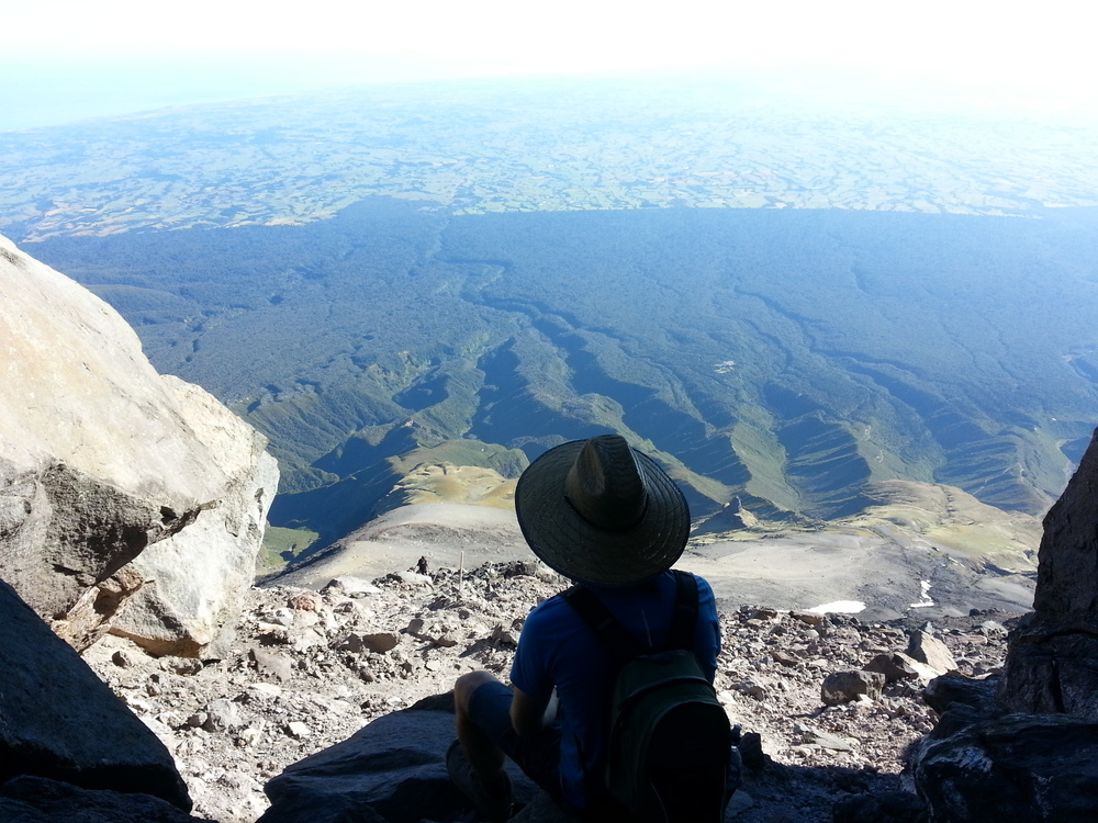Ascending Mt Taranaki with views to Ocean, not for the faint hearted :-)