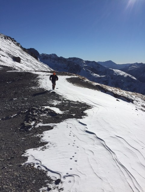 The author enjoying running in the Southern Alps
