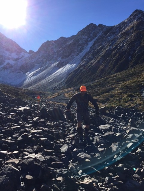 steady progress across the rock garden at the bottom of the glacier