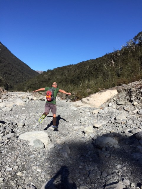 still bursting with energy :-) and crossing a recent landslide in Crow Valley