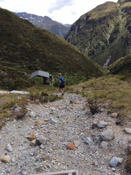 descending to Goat Pass hut, to views towards the west coast.