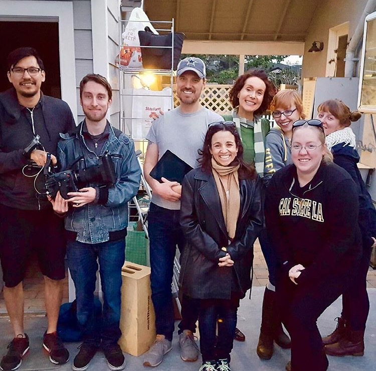 Left to Right, Back Row: Rob Sholty (DP), Sean Corbin (AC), Maura Knowles (Mac), Catelin Pereira (Costume and PD), Andrea Millard (Associate Producer). Left to Right, Front Row: Jennie Fahn (Director), Kristy Priest (AD)
