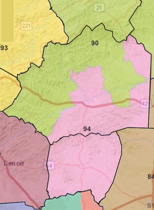 94th District, 2018 Elections  for the 2019-2020 NC General Assembly, Population centers of  Wilkes County  and  Alexander County