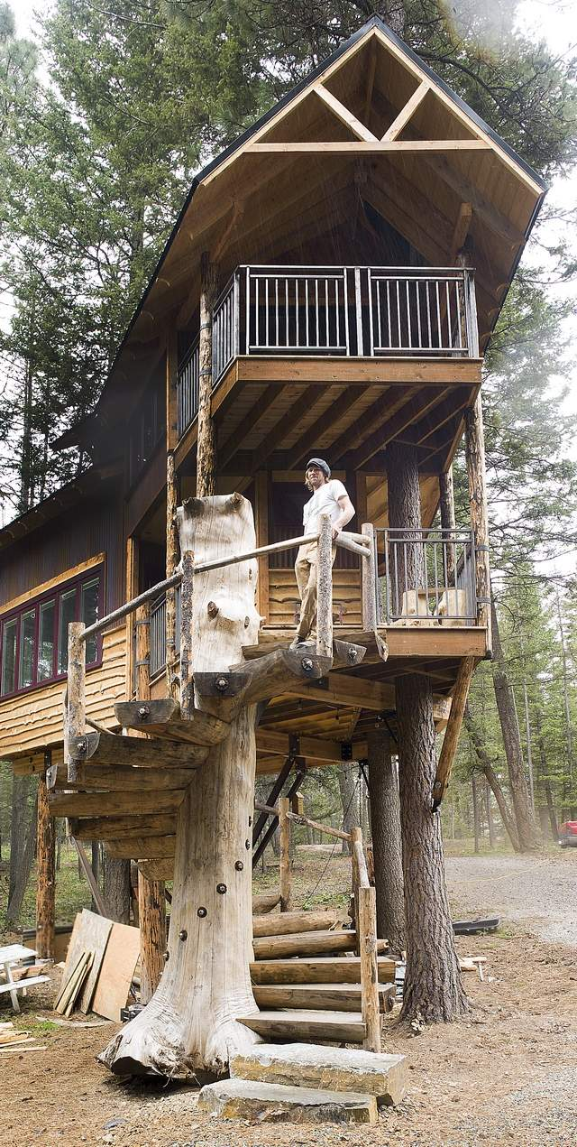 John Colliander of West Glacier built the spiral staicase for this treehouse that will be featured on the DIY Network next week.
