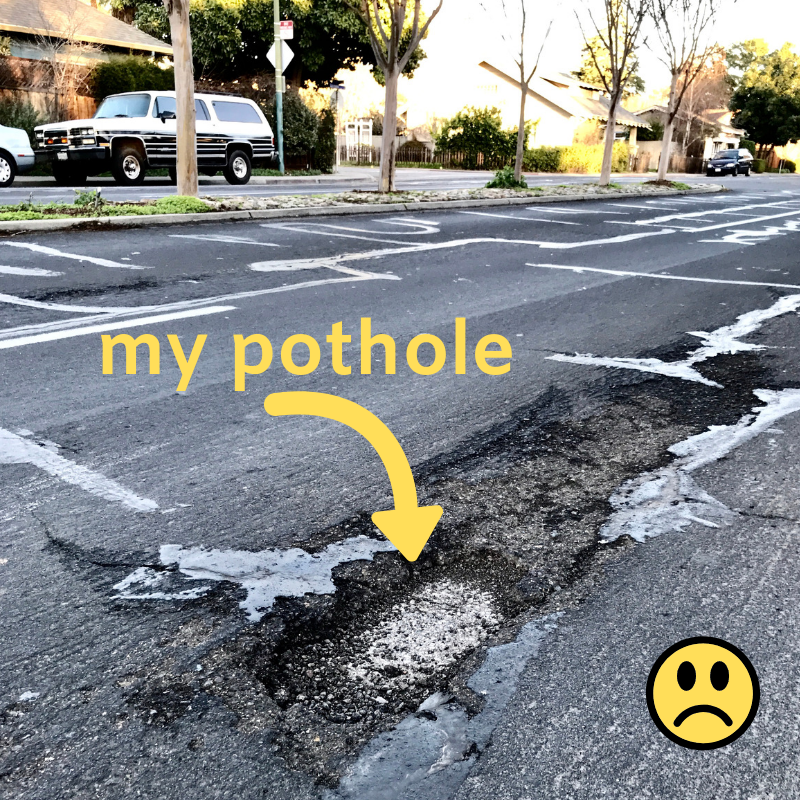 The pothole that WAS right beside my parking spot…