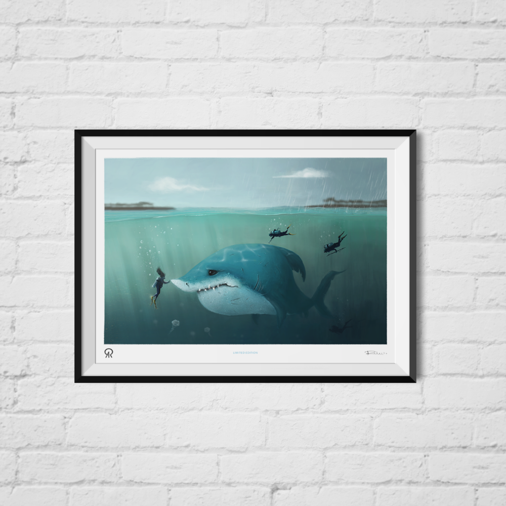 Sad Shark framed