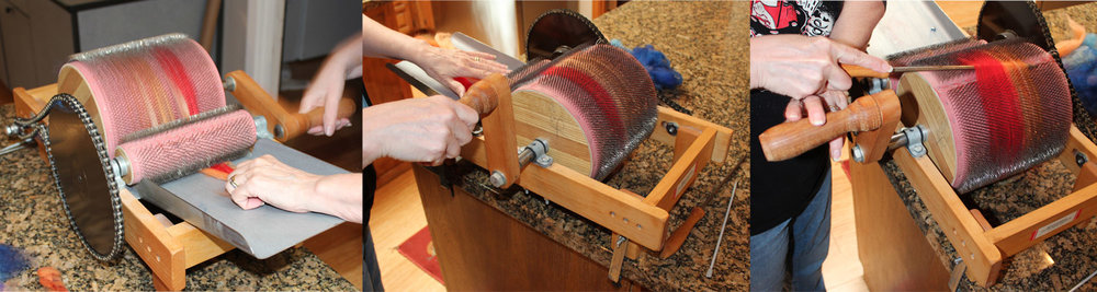 1. Feed the wool. 2. Crank the handle. 3. Release the wool from the roller.