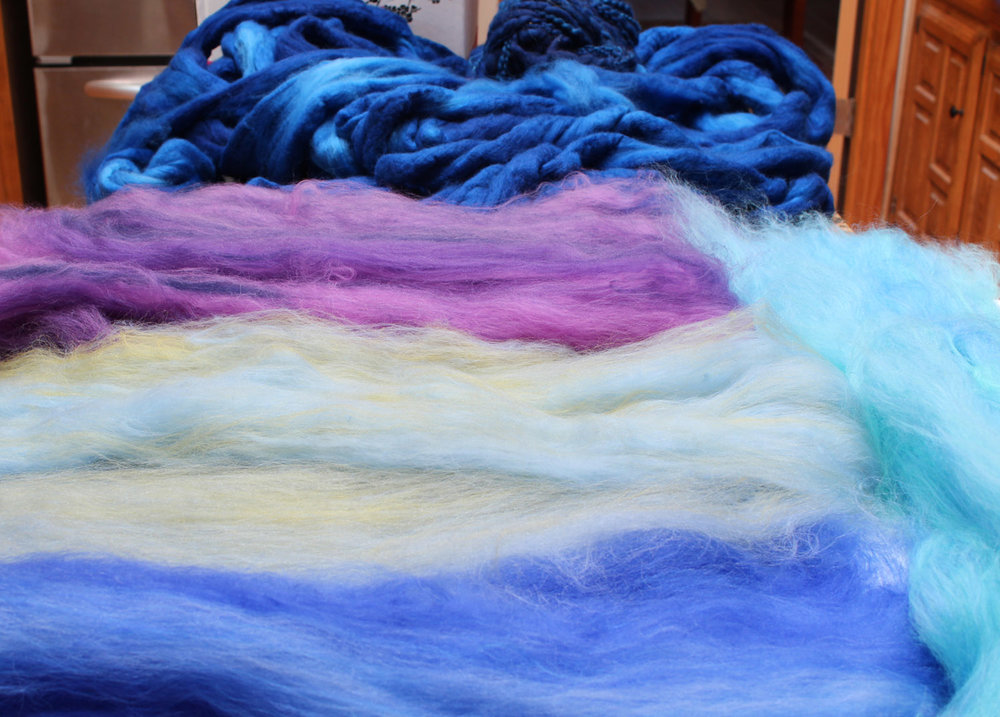 Blended wool for the backgrounds.