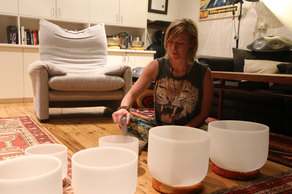Rowena in the zone with the crystal bowls