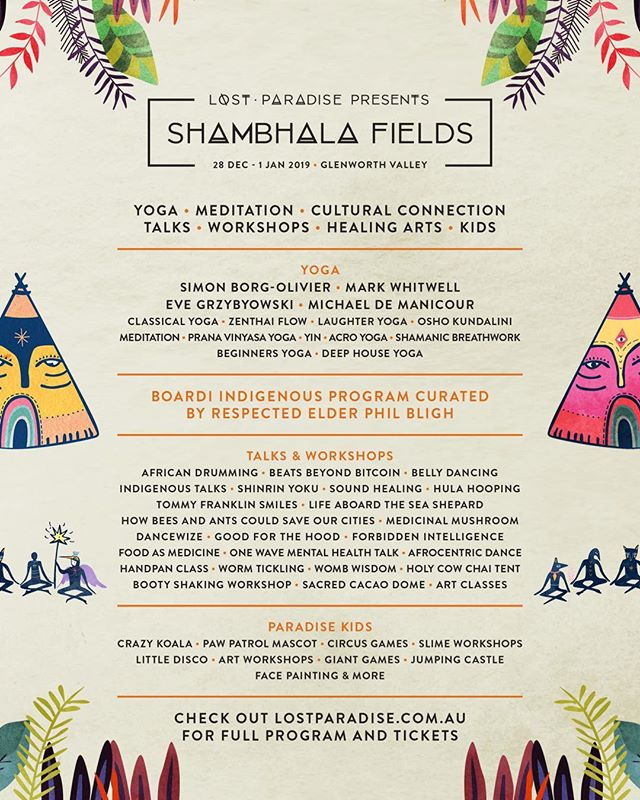 Shambhala fields lineup for the Lost Paradise festival this year where I will be running a handpan fundamentals workshop. Hope you can make it!