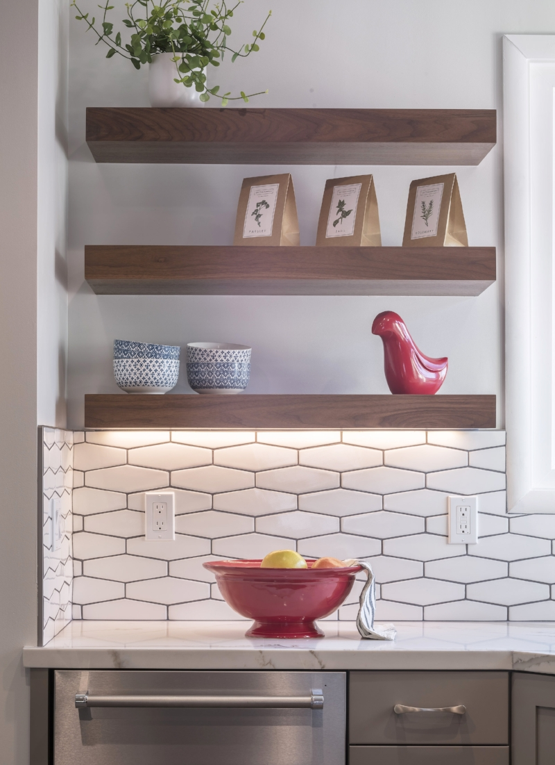Open shelving for added space