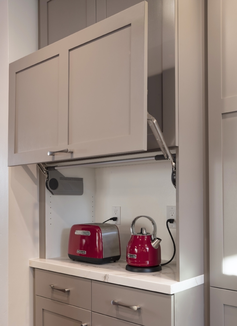 Hidden appliance garages for clever storage solutions.