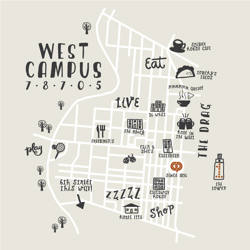 West Campus Map for tote bag giveaway