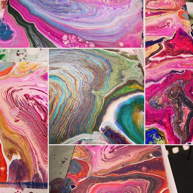 the art design spot pourology is the art of pouring acrylic paint mixes to create abstract geode art