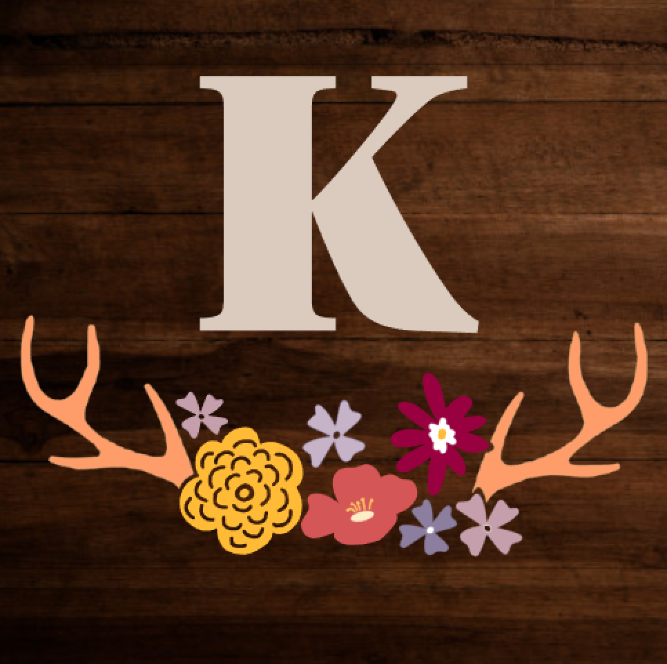 Initial + Floral Antler