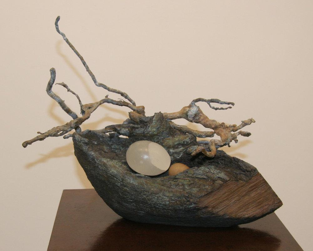 "Nest 16 | Bronze and alabaster sculpture by Pat Musick | 10"" x 14"" x 11"""