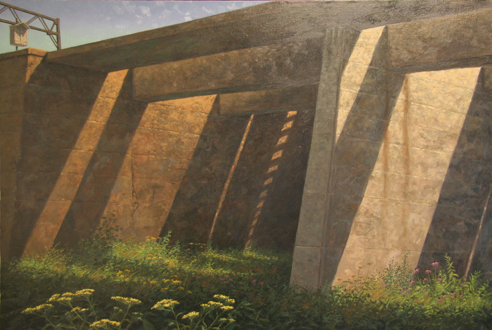 "Under the Trestle | Oil painting on canvas by Joseph Reboli | 34"" x 50"" From the collection of the Reboli Center for Art and History"