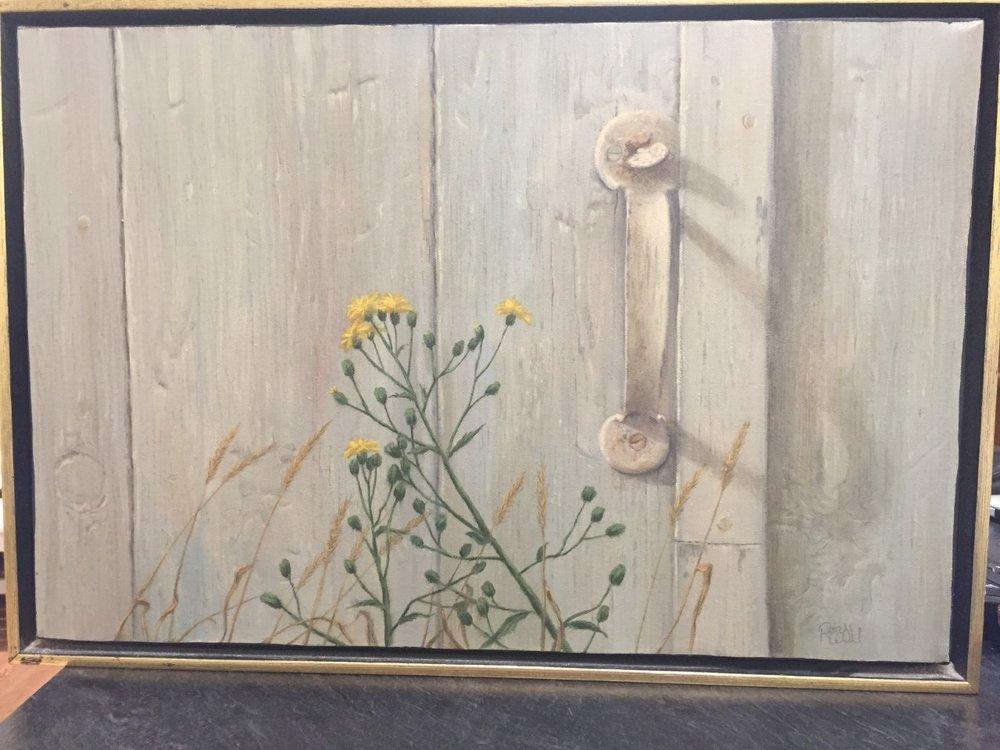 Barn Door with Yellow Flower, 12 X 18