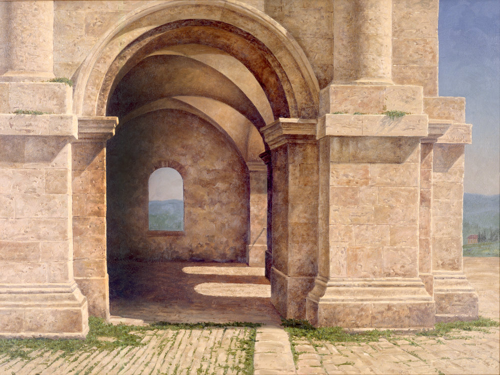 "The featured painting of the exhibit is attached. It is a painting by Joseph Reboli painted during a visit to Italy. It's title is  Roman Ruins,  it is an oil on canvas painting, the size is 42"" x32""."
