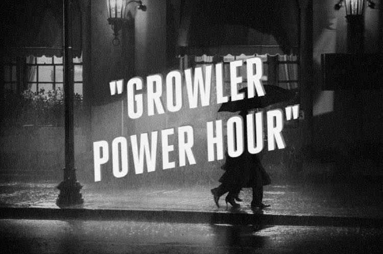 Another day, another Growler Power Hour. From 4-6pm, EVERY Monday to Friday, Buy one growler get the second half off at Saloon Door. If you want to have a beer while you wait for the fill, well... great idea. You're so smart. That's why we like you. (No nitro beer, it goes flat too fast)