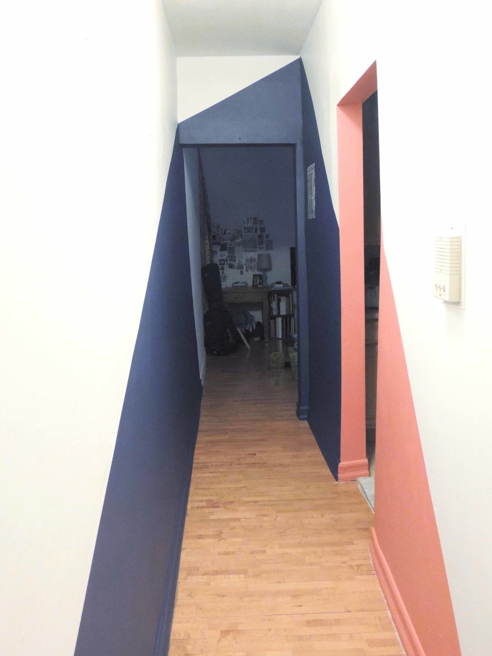 geometric painted wall nyc apartment painting